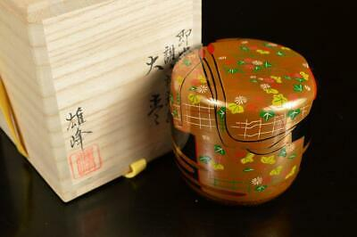 A7906: Japanese XF Wooden Lacquer ware TEA CADDY Natsume w/signed box