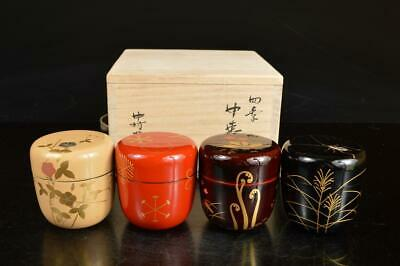 A7886: Japanese XF Wooden Lacquer ware TEA CADDY Natsume 4pcs, w/signed box