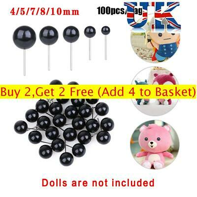 20/100Pcs Black Glass Eyes Needle Felting For Bears Animals Dolls Accessories