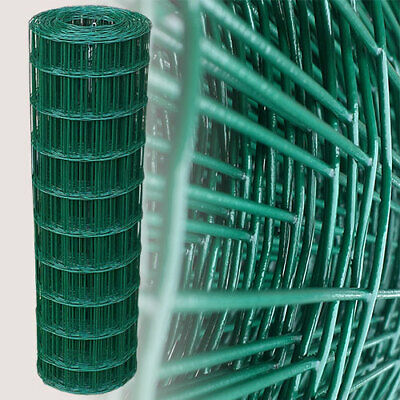 PVC Coated Wire Mesh Fencing 25m Green Galvanised Garden Fence