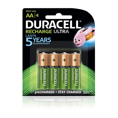 DURACELL Recharge Ultra AA Batteries Genuine - Pack of 4 - 2500mAh 1.2V