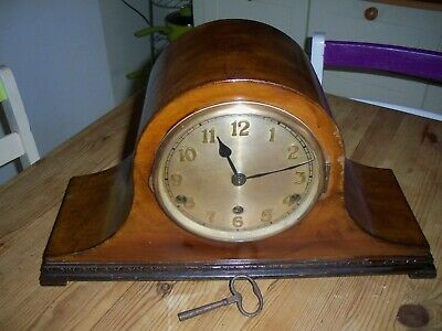 VINTAGE WESTMINSTER CHIMING MANTEL CLOCK napolean top hat case / key wind