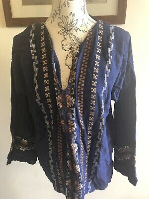True Vintage Top Tunic Embroidered Blue Festival Hippy Size XL