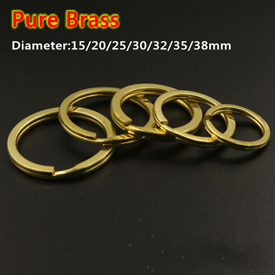 2pcs Leather Craft Pure Brass Flat Key Buckle Ring Fitting Tool D15mm-38mm DIY