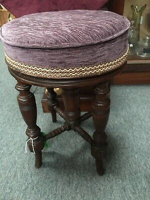Small Antique Piano Stool Newly Reupholstered