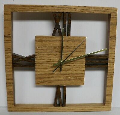 Handcrafted Square Wood Wall Decor Clock Deco Style Wooden