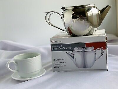 Teapot. Stackable. 32 Oz. Stainless Steel (Total Of 3)