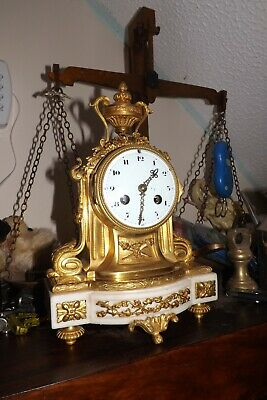 Ormolu and Marble Boudoir Antique French Clock Set by Medaille De Argent