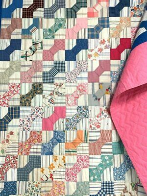 Feedsacks Country PA c 1930s Bow Tie   QUILT Vintage Pink CRISP