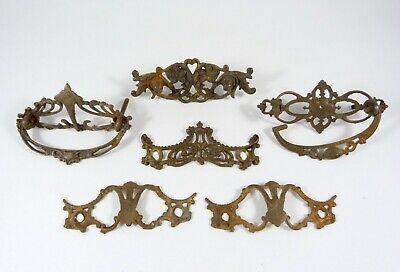 6 Antique Victorian Decorative Ornate Drawer Pull Back Plates Cast Iron Brass