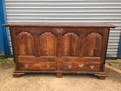 Antique 18C Oak Mule Chest with hinged lid and 2 drawers