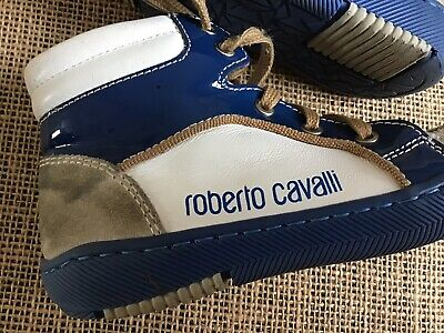 roberto cavalli boys designer High Top trainers Blue And White size 23 UK 6