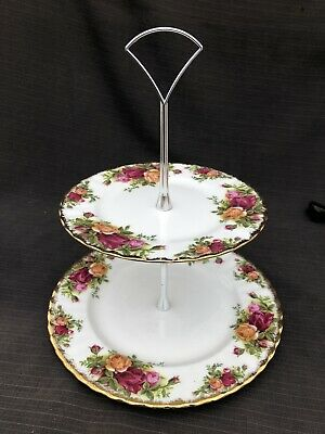 Royal Albert Old Country Rose Two Tiered Cake Stand