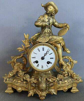 19thC Antique FRENCH VICTORIAN Mourey JAPY FRERES Old ARTIST STATUE MANTEL CLOCK