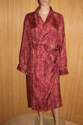Stunning Claret Luxury 100% Silk Mens Robe, Dressing Gown Size M-L