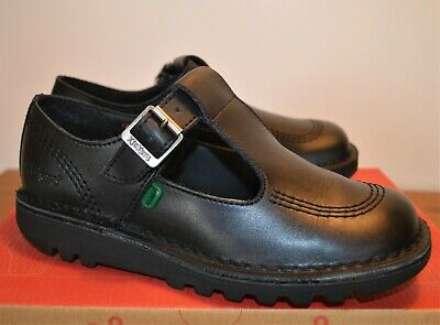 Kickers black leather T-bar school shoes girls size UK 4, used, good condition