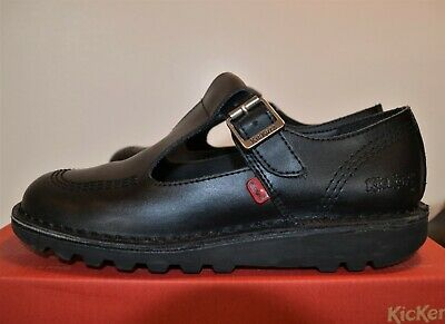 Kickers black leather T-bar school shoes girls size UK 5, used, good condition
