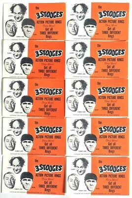 S303. VINTAGE: Lot of 10: THE 3 STOOGES Action Picture Rings Ad Pieces (1960's)