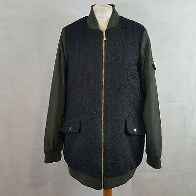 Next Outerwear Womens Winter Bomber Jacket Black UK14 Quilted Padded Zip Up