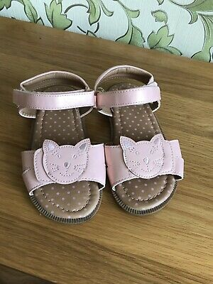 Mothercare Girls Size Uk 9 Pink Sandals With Kittens (eu 26.5)