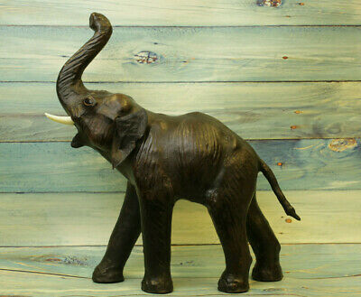 "VERY LARGE 20"" Elephant Sculpture, Leather Wrapped, Antique"