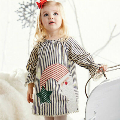 Kids Baby Girls Santa Striped Princess Dress Infant Christmas Party Clothes Acc