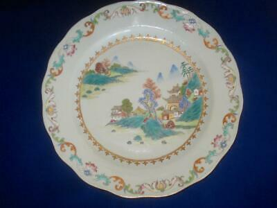 Pair 18Th C Chinese Export Porcelain Famille Rose Large Plates Landscape 11.25""