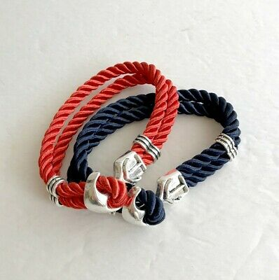 Red and Blue Anchor Charm Bracelet / 80 Pieces / WholesaleAccessories