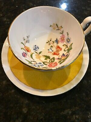 AYNSLEY YELLOW TEA CUP AND SAUCER BUTTERFLY & FLOWERS Chintz Teacup