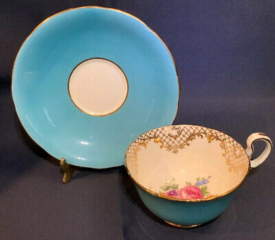 Aynsley Tea Cup & Saucer Teal Blue Gold Scroll Multi Floral Center Set 1930's