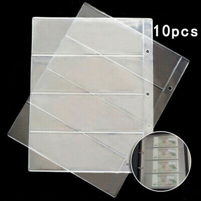10x Note Banknotes Currency 4-Pocket Holder Page Album Paper Money Sleeve PVC