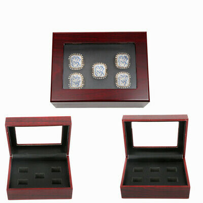 5/6 Holes Championship Ring Display Case Box Wooden Collection Storage Box US