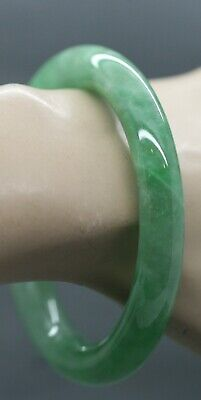 Exquisite Vintage Chinese Green Jade Bangle Beautiful Colour For Large Wrists