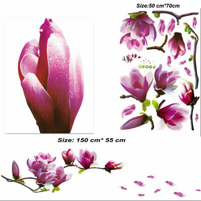New Giant Magnolia Flowers Tree Wall Stickers Art Mural Background Wall Decors