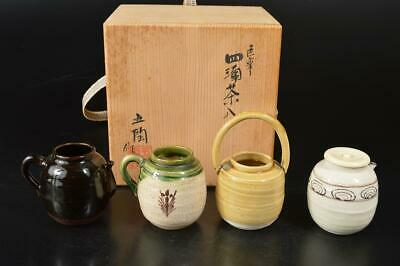 A7272: Japanese Seto-ware Oribe glaze TEA CADDY Chaire Container w/signed box