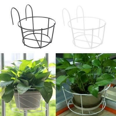 Iron Hanging Plant Flower Rack Balcony Round Pot Rack Railing Fence Outdoor