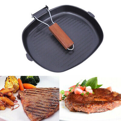 Large Non-Stick Frying Griddle Pan Set CAST IRON Barbecue Grill Fry BBQ Skillet