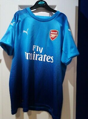 Arsenal 17/18 Lacazette away Puma turquoise football shirt - approx fit age 9-12