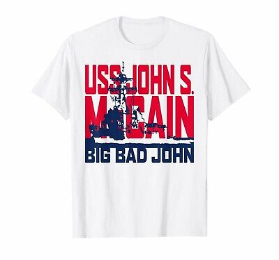 DDG-56 USS John S McCain Veteran T Shirt Funny Men/'s Short Sleeve Top Tee