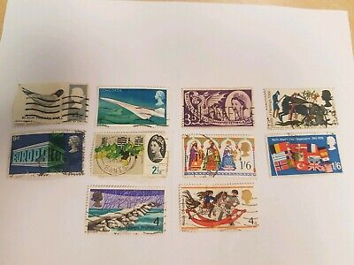 Various Used Great Britain Stamps of Queen Elizabeth 2 Qty: 10 (My ref:ST00036)