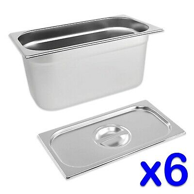 STAINLESS STEEL FOOD PANS 6x GASTRONORM 1/3 TRAYS AND LIDS 150mm DEEP BAIN MARIE