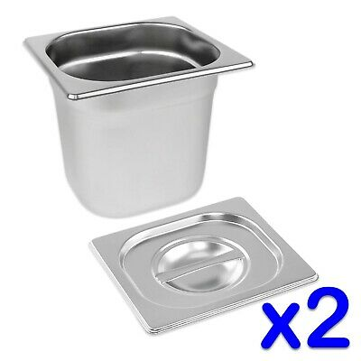 STAINLESS STEEL FOOD PANS 2x GASTRONORM 1/6 TRAYS AND LIDS 150mm DEEP BAIN MARIE