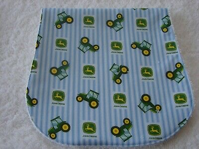 John Deere Blue Burp Cloth Cotton Front Towelling Back Handmade