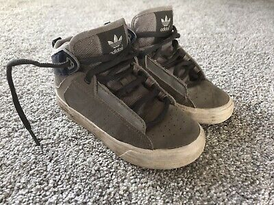 Adidas Grey hi tops Trainers Size 9.5k Infants Boys Or Girls