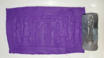 Exceptionally Beautiful Ancient Sasanian Blue Agate Cylinder Seal