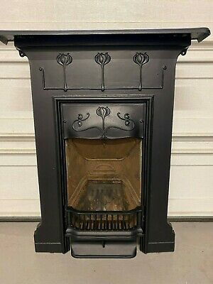 (17) Antique Victorian/Art Nouveau cast iron fireplace fully restored