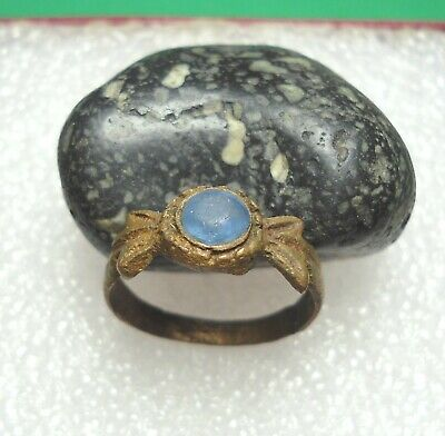 Ancient Roman Bronze Ring With Blue Stone Original Authentic Antique Rare R860