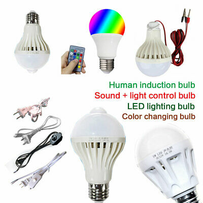 Energy Saving E27 LED Bulb Light 5W 9W 12W 15W Music Colorful Lamp 12V -265V Lot