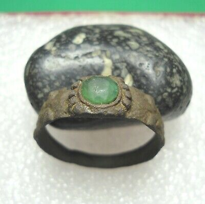 Ancient Roman Bronze Ring With Green Stone Original Authentic Antique Rare R863