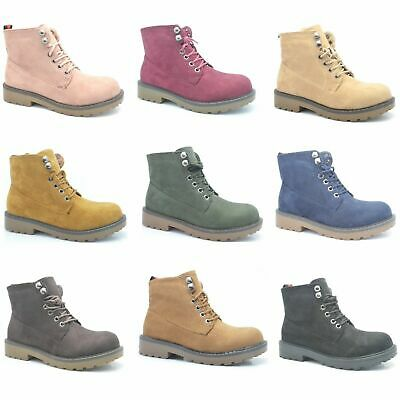 Womens Winter Ankle Boots Ladies Army Combat Flat Grip Sole Faux Sued Shoes Size